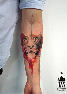 Watercolor Lion Face Tattoo On Left Forearm