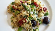 Quinoa Salad with Asparagus, Sundried Tomatoes, Olives & Pine Nuts (Vegan & Gluten-Free)