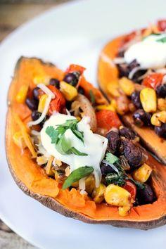8. Southwestern Stuffed Sweet Potato #healthy #recipes #college http://greatist.com/eat/healthy-dorm-room-recipes