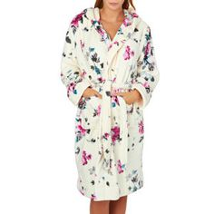 Joules Dressing Gowns - Joules Rita Fluffy Dressing Gown - Cream Floral