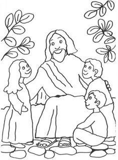 Szenen aus der Bibel: Kostenlose Malvorlage: Jesus spricht mit Kindern zum Ausmalen