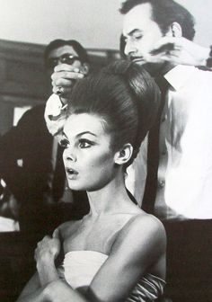Jean Shrimpton having her hair styled, c. 1964.