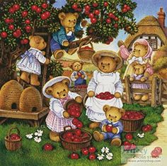 Apple Harvest - Country cross stitch pattern designed by Tereena Clarke. Category: Whimsy.
