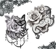 Lace butterfly rose tattoo design