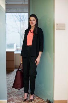 American Apparel trousers, a Ralph Lauren belt, Nine West heels, an H shirt, a Zara blazer, and a Hunter bag6 Real Women Show Off Their Office Style