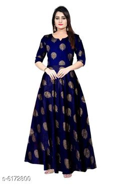 Checkout this latest Gowns Product Name: *Yanjali Creation Gown* Fabric: Rayon Sleeve Length: Three-Quarter Sleeves Pattern: Printed Set Type: Single piece Stitch Type: Stitched Multipack: 1 Sizes:  M (Bust Size: 38 in, Length Size: 49 in)  L (Bust Size: 40 in, Length Size: 49 in)  XL (Bust Size: 42 in, Length Size: 49 in)  XXL (Bust Size: 44 in, Length Size: 49 in)  Free Size Country of Origin: India Easy Returns Available In Case Of Any Issue   Catalog Rating: ★4 (1613)  Catalog Name: Women's Printed Dresses & Gowns CatalogID_941959 C79-SC1289 Code: 043-6172800-438
