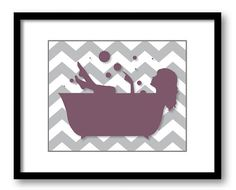 Bathroom Decor Bathroom Print Plum Purple Grey Gray Girl with Long Hair in a Bathtub Tub Bathroom Art Prints Wall Decor Modern Minimalist