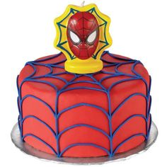 This Spider-Man cake will be the main attraction at your Spider-Man Ultimate celebration. Covered in Wilton Ready-To-Use Rolled Fondant with a buttercream icing web and then topped with a Spider-Man Ultimate Birthday Candle, it's easy to create.
