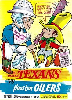 Old school football Texans Football, Football Art, Football Program, School Football, Vintage Football, Sport Football, Denver Broncos, Nfl Sports, Sports Art