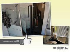 Slim omgaan met ruimte. De fam. Van Straalen uit 's-Gravenzande koos een compact bad en de Sealskin duka Multi douche met vouw-pendeldeur. Mooi geworden! Mede dankzij Baderie Van der Valk in Naaldwijk.