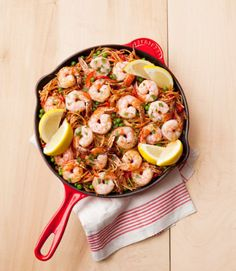 """Treat yourself to a European """"escape"""" with this paella-inspired pasta dish, Spanish Noodles with Shrimp and Peas ... plus a siesta. Click through for this and more easy shrimp recipes."""