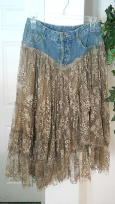 Belle Bohémienne bohemian jean skirt ruffled taupe lace funky frou frou Renaissance Denim Couture fairy goddess Made to Order. $150.00, via Etsy.