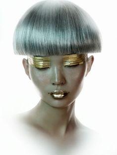future, futuristic, Future Girl, Hairstyle, Futuristic Look, futuristic fashion, silver hair, futuristic make up, sci-fi girl, silver, gold, by FuturisticNews.com