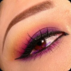 Spring inspired look used bh cosmetics 120 palette 2nd edition. Colors used were yellow, orange, hot pink and purple on the lid
