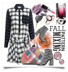 """Fall Pattern Mix"" by capricat ❤ liked on Polyvore featuring 10 Crosby Derek Lam, Cynthia Rowley, TIBI, Vivienne Westwood, Larkspur & Hawk, Salvatore Ferragamo, Miadora, Bobbi Brown Cosmetics, MAC Cosmetics and smartbuyglasses"