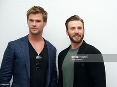 Chris Hemsworth and Chris Evans at the 'Avengers: Age of Ultron' Press Conference at Walt Disney Studios on April 11, 2015 in Burbank, California.