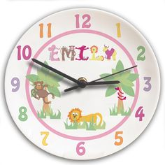 Gift this fun and bright 'Animal Alphabet' bone china clock for a special little girl.