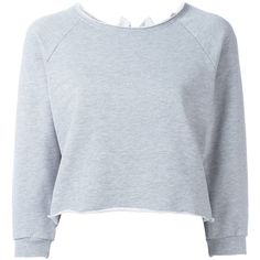 Gaelle Bonheur Cropped Sweatshirt found on Polyvore featuring tops, hoodies, sweatshirts, grey, grey top, crop top, grey sweatshirt, cropped sweatshirt and cotton crop top
