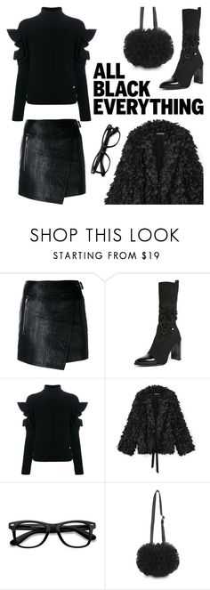 """""""Monochrome: All Black Everything"""" by sproetje ❤ liked on Polyvore featuring Étoile Isabel Marant, Stuart Weitzman, Versace, EyeBuyDirect.com, Comme des Garçons, glasses, ruffles, allblack and WearIt"""