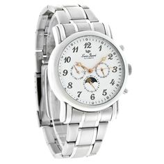 Lucien Piccard Mens Day/Date Moon Phase Automatic Watch 26571SL #LucienPiccard