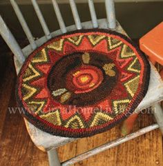Wild Rose Hooked Chair Pad