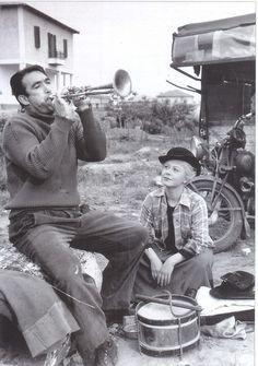 """Anthony Quinn and Giulietta Masina in Fellini's """"La Strada"""" (""""The Road""""), 1954."""
