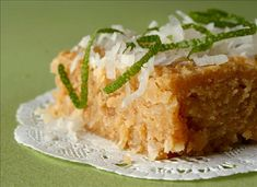 "INCREDIBLE EASY KEY LIME BROWNIES--great dessert for Mexican dinner party * 2 1/4 cups vanilla wafer crumbs * 1 (14 ounce) can sweetened condensed milk * 1/4 cup lime juice (key lime, preferred) * 1 tablespoon lime zest * 1 cup flaked coconut Directions: 1. 1 Mix all the ingredients together and pour into an 8""x8"" pan sprayed with vegetable spray. 2. 2 Bake at 350°F for 25 minutes."