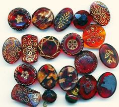 Nice collection of tiny antique Granberry Glass Buttons.