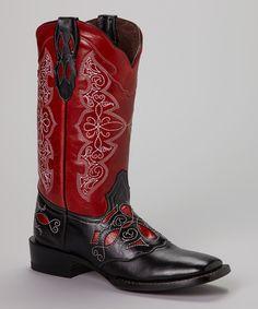 Pecos Bill Black & Red Embroidered Cowboy Boot - Women by Pecos Bill #zulily #zulilyfinds