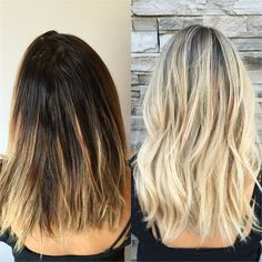 Before and after full foil highlights hair by kaitlin for 3 brunettes and a blonde salon