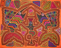 A reverse applique, or mola, made with layers of fabric by the Kuna tribe. San Blas Islands, Panama