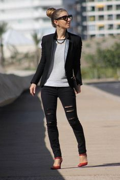 Classy mixed with edgy style outfit