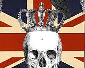 Latest addition!  Flour Sack Dish Towel Union Jack Skull Crown Crow Fabulous