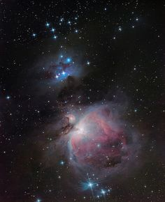 "Great Orion Nebula"" region, Messier 42, 43, ""trapezium"" and other dark, emission and reflection nebulae complex illuminated by young stars born there."