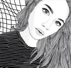 Tumblr Outline, Outline Art, Outline Drawings, Cool Drawings, Drawing Sketches, Tumblr Girl Drawing, Tumblr Drawings, Tumblr Art, Tumblr Girls