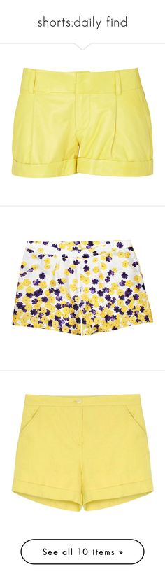 """shorts:daily find"" by susu2795 ❤ liked on Polyvore featuring shorts, bottoms, short, yellow, yellow shorts, short shorts, cuffed shorts, leather shorts, yellow short shorts and pants"