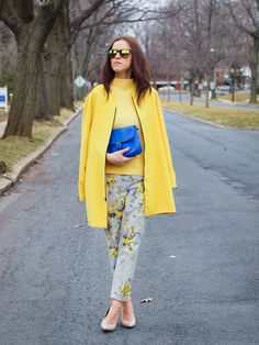 gorgeous floral print pants with yellow