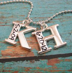 hand stamped double initial with date necklace by juliethefish ($40)