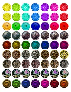 """Buttons! Bottle cap images, high resolution formatted for printing on 8.5"""" x 11"""" page"""
