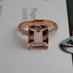 Welcome to my shop,please see detail as follow:  Size available to choice(4#-9#)  Metal Type: Solid 14k Rose Gold(White Gold,Yellow Gold available for choice)  Main Stones:Natural Morganite Carat Weig