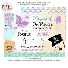 Mermaid And Pirate Birthday Invitation Sibling Mermaid & Pirate Invitation Sibling Girl Boy Combined Birthday Invite Mermaid Pirate Party 8L