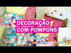 DIY - Decoração do quarto com pompons   Almofada de pompom, tapete de pompom e mais! - Casinha Arrumada