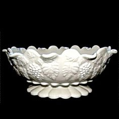 Paneled Grape Oval Bowl, Milk Glass by Westmoreland