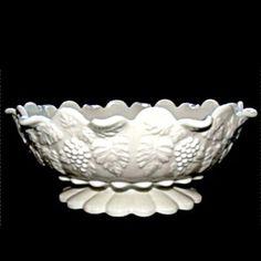 Paneled Grape Oval Bowl, Milk Glass by Westmoreland