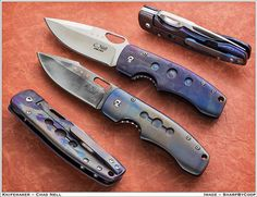 Folder Custom Knife. The Titanium is Anodized to Create the Custom Colors and Effects.
