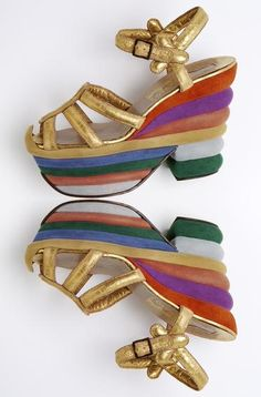Salvator Ferragamo 'Rainbow' shoes, created for Judy Garland in 1938. Late 30s platform shoes heels gold red pink blue green stripe wedge