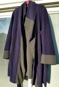 Susan Graver Weekend Lightweight Fleece Robe Wrap Jacket Blue Gray Plus Size 3X  #SusanGraver #FleeceJacket #Casual