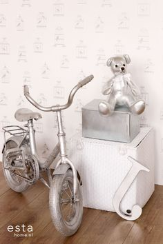 Tapetti Birdcage 137339 m hopea non-woven Joko, Tricycle, Bird Cage, Shapes, Wallpaper, White Colors, Letters, Products, Wallpapers