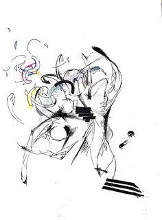 발레 동작의 연속적인 표현-움직이면서 연속적인 부분이 부서지며 사라짐/마카 펜 색연필-