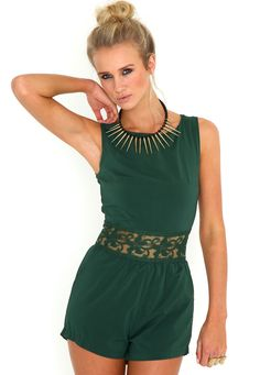 Anissia Lace Panel Playsuit In Deep Green